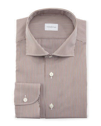 Mini-Bengal-Stripe Dress Shirt, Brown/White