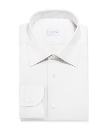 Solid Twill Dress Shirt, Ecru