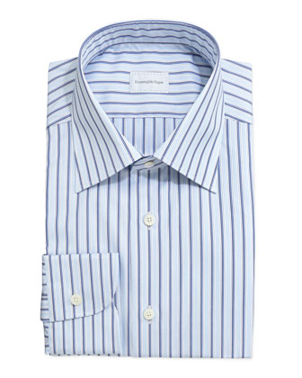 Striped Dress Shirt, Light Blue/Navy