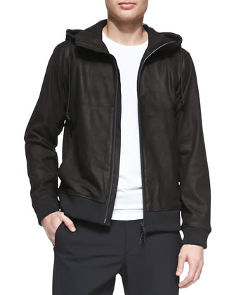 Lamb-Leather Hooded Zip Jacket, Black