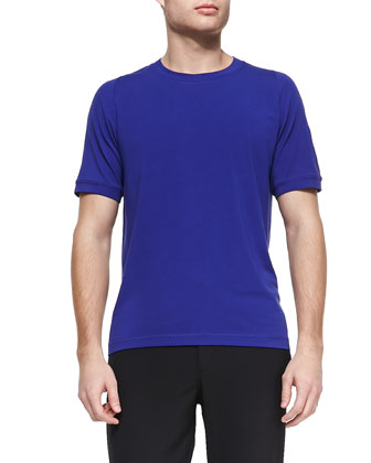 Stretch-Cotton Crewneck Tee, Royal