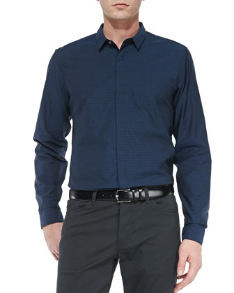 Stephan Poplin Long-Sleeve Shirt, Navy