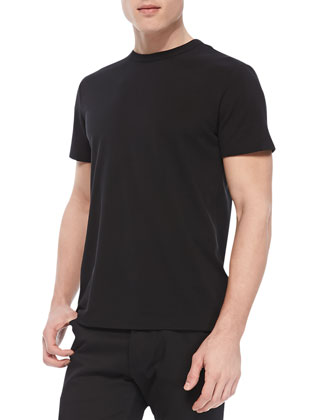Andrion Tee in Plaito Silk-Blend, Black