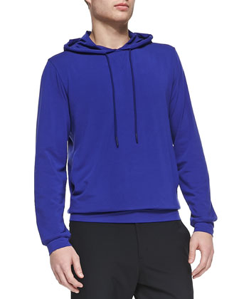Stretch-Cotton Hoodie, Royal Blue