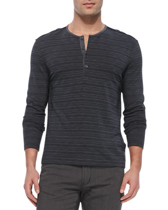 Striped Knit Henley, Charcoal