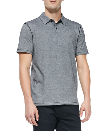 Short-Sleeve Micro-Striped Polo, Black