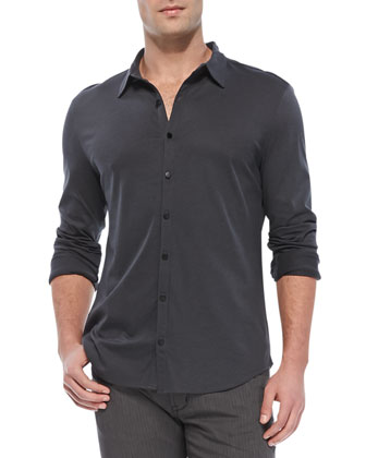 Knit Button-Down Shirt, Charcoal