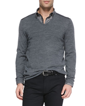 Melange-Knit V-Neck Sweater, Dark Gray