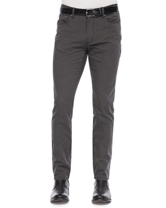 Slim-Fit Herringbone Pants, Dark Gray
