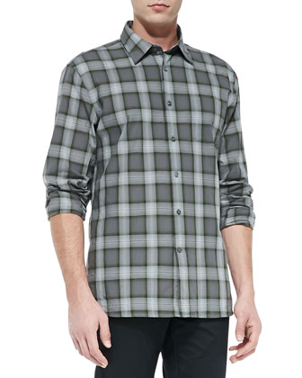 Long-Sleeve Plaid Shirt, Dark Gray