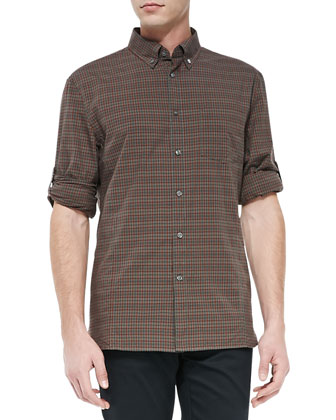 Long-Sleeve Check Shirt, Light Green
