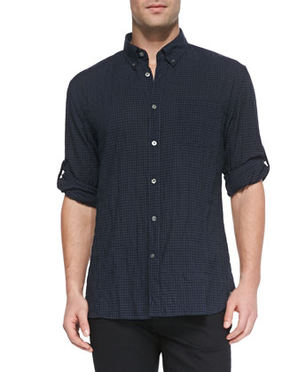 Mini-Check Crinkled Shirt, Blue