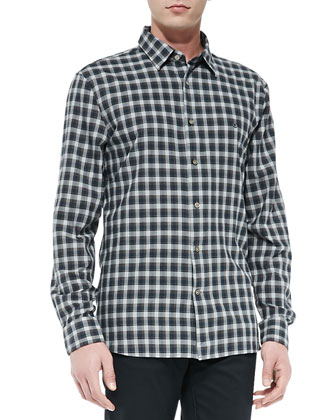 Long-Sleeve Button-Down Plaid Shirt, Brown