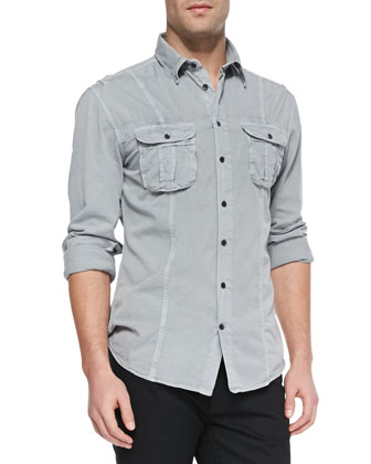 Double-Pocket Button-Down Shirt, Dark Gray