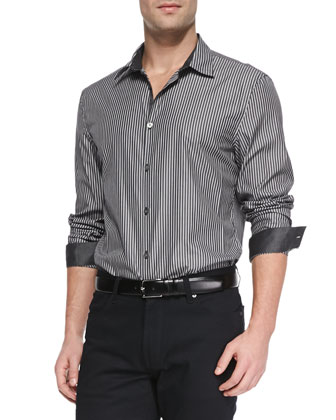 Striped Button-Down Shirt, Black