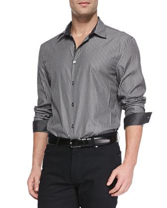 Striped Button-Down Shirt, Black