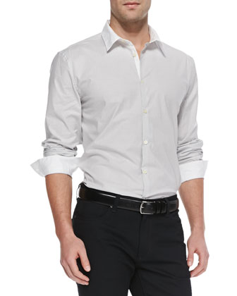 Fine-Stripe Sport Shirt, White/Gray