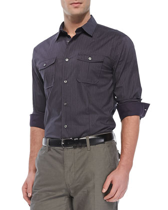 Slim-Fit Striped Button-Down Shirt, Plum