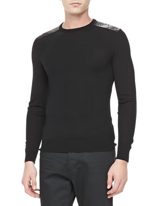 Crewneck Pullover with Leather Detail, Black