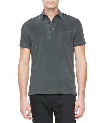 Patch-Pocket Casual Polo, Med Gray