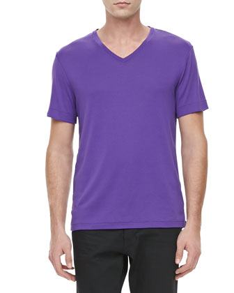 V-Neck Short-Sleeve Tee, Purple