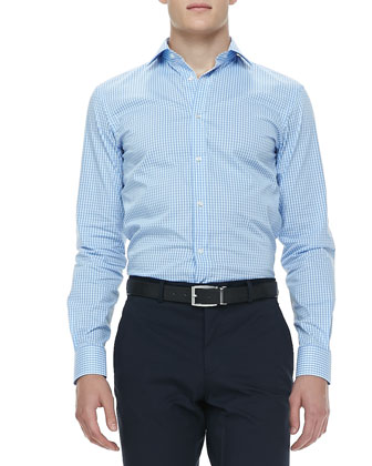 Gingham-Check Sport Shirt, Blue/White