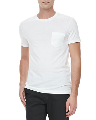 Patch-Pocket Crewneck Tee, White