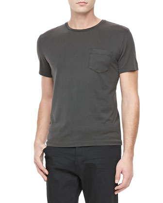 Patch-Pocket Crewneck Tee, Med Gray