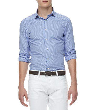 Bengal-Stripe Washed Sport Shirt, Blue