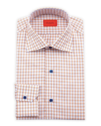 Shadow Check Dress Shirt, Orange/Navy