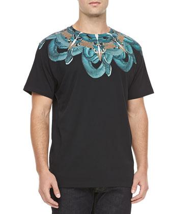 Snake Print Tee, Black/Turquoise