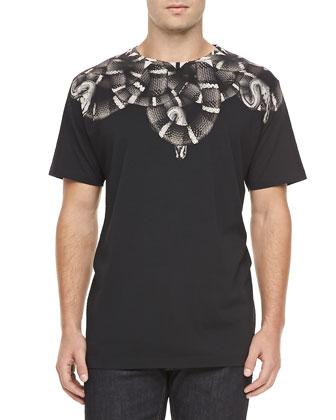 Snake Print Tee, Black/Gray