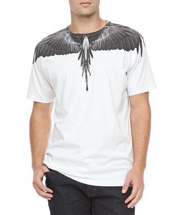 Black-Feather-Print Tee, White