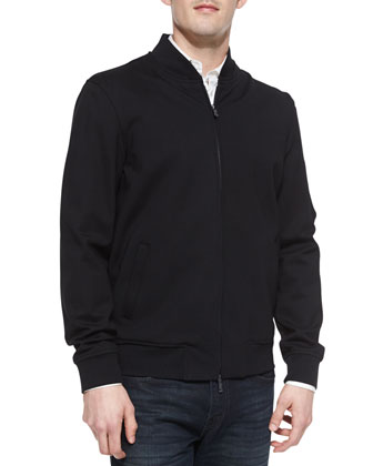 Knit-Collar Sport Jacket, Black