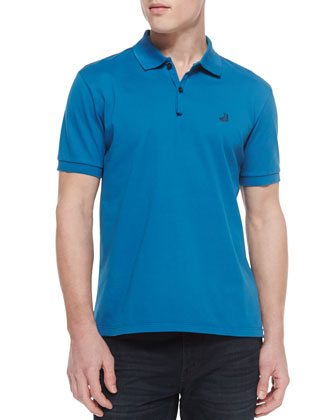 Short-Sleeve Sneaker-Embroidery Polo, Turquoise