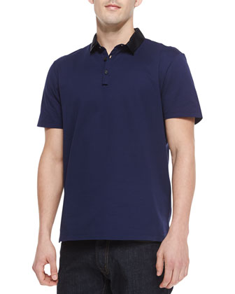 Grosgrain-Collar Short-Sleeve Polo Shirt