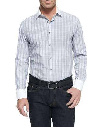 Plaid Contrast-Collar Shirt, Blue