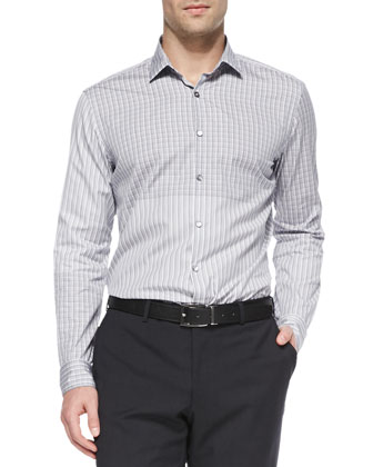 Stripe/Check Dress Shirt, Navy/Gray