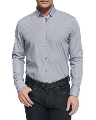 Micro-Check Button Down Shirt, Dark Gray