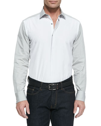 Colorblock Fly-Front Shirt, Natural