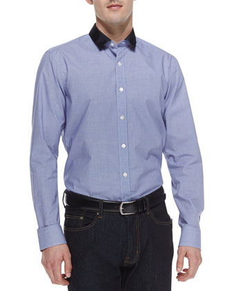 Small Check-Print W/Contrast Collar Shirt