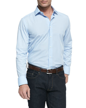 Solid Button-Down Shirt, Light Blue