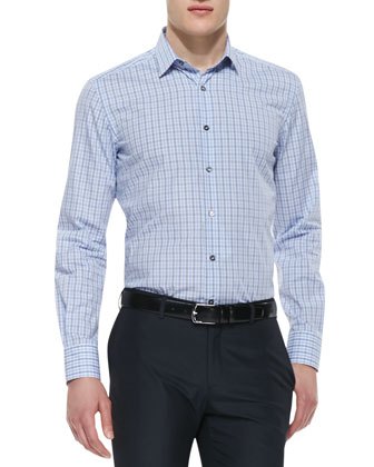 Plaid Poplin Shirt, Blue Pattern