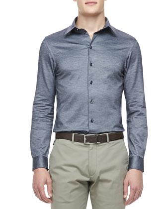 Jersey-Knit Button-Down Shirt, Navy
