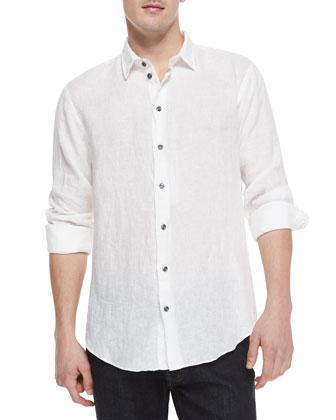 Contrast-Buttons Linen Shirt, White