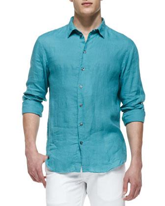 Linen Button-Down Shirt, Light Green