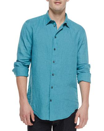 Contrast-Buttons Linen Shirt, Teal