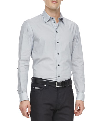 Small-Geometric-Print Dress Shirt & Slim Stretch-Denim Jeans