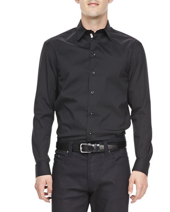 Poplin Grosgrain-Placket Dress Shirt, Black