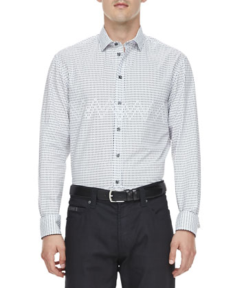 Dot and Zigzag Sport Shirt, Navy